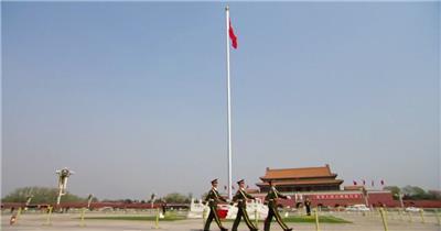 天安门广场红旗飘飘中国名胜风景标志性景点高清视频素材