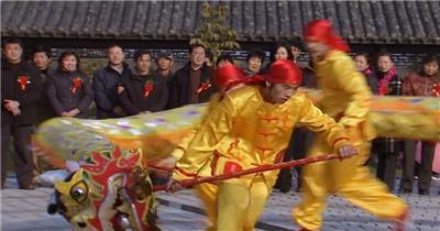 宁波+乡村民俗+舞龙表演+平调耍牙+戏...中国名胜风景标志性景点高清视频素材