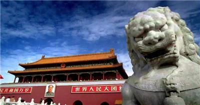 天安门和大石狮子中国名胜风景标志性景点高清视频素材