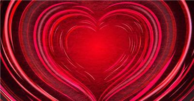 红色爱心婚礼婚庆循环背景高清视频素材