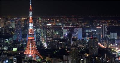 实拍视频日本延时摄影城市宣传