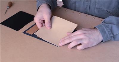 皮革真皮钱包卡夹加工制作选材裁剪完整流程高清实拍视频素材