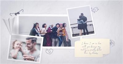 AE:纸飞机照片相册爱情回忆片头ae特效素材下载网站