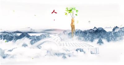 E3D大气中国风水墨医药中医片头AE模板