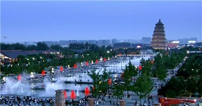西安航拍风光城市生态公园_batch中国名胜风景标志性景点高清视频素材