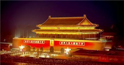 天安门夜景中国名胜风景标志性景点高清视频素材