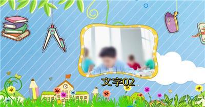 手绘清新卡通开学宣传小视频模板