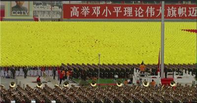 国庆周年年阅兵-国庆50周年1999年阅兵升国旗_batch中国高清实拍素材宣传片