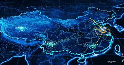 商务科技地图辐射分布视频
