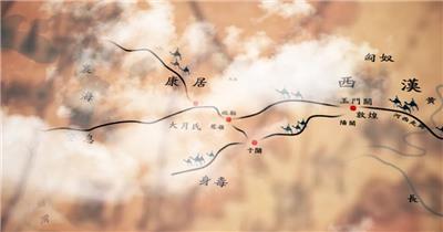 复古丝绸之路地图旅行纪录片AE模板