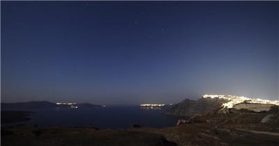 圣托里尼海边城市延时摄影