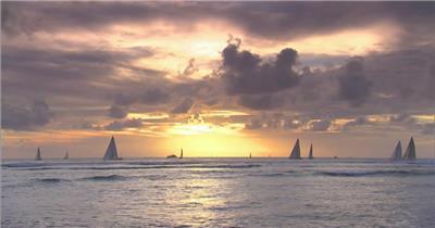 实景拍摄海上帆船黄昏海面风景实拍视频