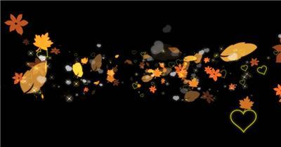 唯美树叶爱心粒子素材1Particles 视频素材下载