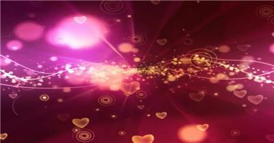 粉色背景中的粒子光线和闪烁爱心1 视频素材下载