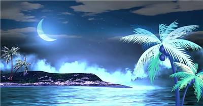 弯弯的月亮 款A2025月半弯海滩无音乐_batch led视频背景下载