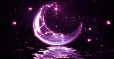 星星月亮 款A20006唯美粉色梦幻月亮花瓣无音乐_batch led视频背景下载