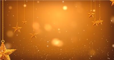 金色星星挂饰素材  GoldenOrnamentsHD 视频素材下载