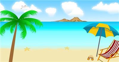 沙滩椰树 款A19123卡通沙滩海景无音乐_batch led视频背景下载