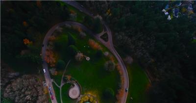 小镇街道房屋航空俯拍长镜头高清实拍