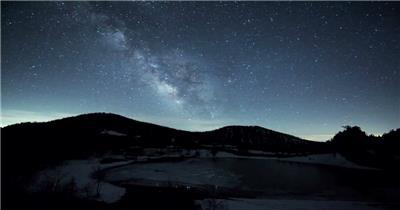 实景拍摄云海星空雪山视频延时视频