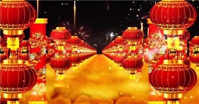 -春节新年系列款Y4993灯笼龙柱 led视频素材库