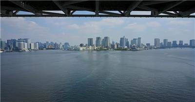 航拍日本东京湾台场大桥视频