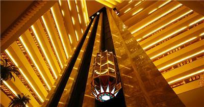 金碧辉煌商务酒店大楼电梯上下升降延时快速记录高清视频实拍