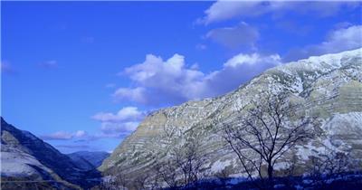 蓝天白云唯美雪山延时摄影