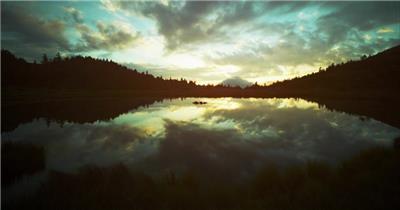 高山夜景湖泊星星风景日出大气唯美美景航拍