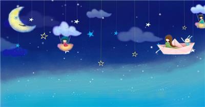 星星月亮 款A20009卡通星星月亮船无音乐_batch led视频背景下载