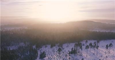 大气雪山森林航拍素材视频