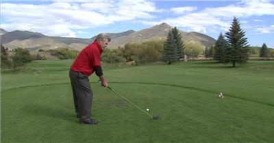 老年人休闲生活草地上打高尔夫球标准姿势学习人物生活高清视频实拍