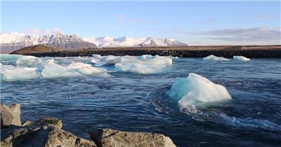 北极冰岛雪山冰川景色冰块浮在水面晶莹冰块特写极光景象视频实拍