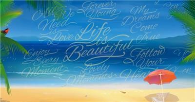 10873 夏日海滩标志片头 ae素材下载 AE模板