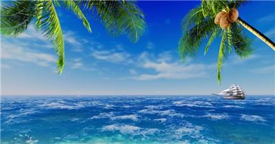 沙滩椰树 款A19119蓝色海洋椰树无音乐_batch led视频背景下载
