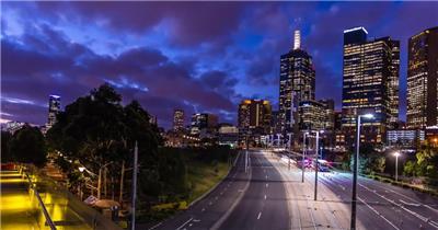 美丽的墨尔本城市夜景延时摄影