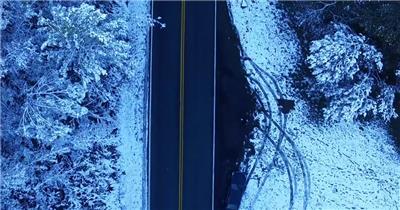 实景拍摄梦大自然冬天雪景雪山公路视频