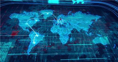 世界地图通信连线素材  Worldap 视频素材下载