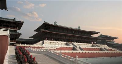 古代皇宫建筑壮观场景