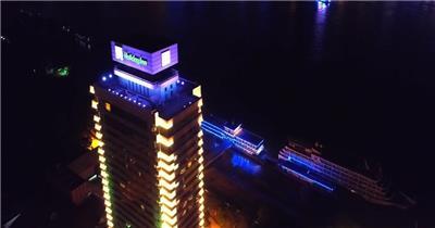 航拍武汉长江大桥晴川大酒店武汉视频