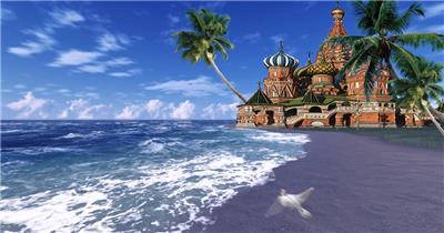 沙滩椰树 款A19116沙滩城堡椰树无音乐_batch led视频背景下载