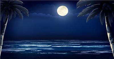 沙滩椰树 款A19117海上明月椰树无音乐_batch led视频背景下载