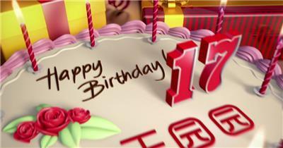 生日蛋糕生日礼物祝福视频AE模板
