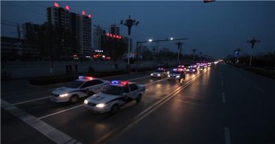 交通警察巡逻检查执行任务警车街道行驶形象宣传片高清视频实拍