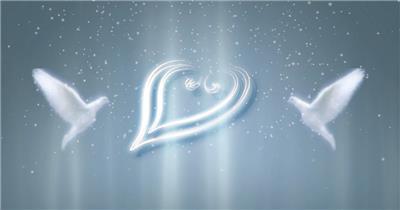 圣洁白鸽与柔光爱心素材爱心白鸽 视频素材下载