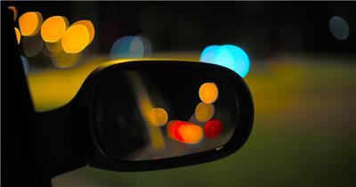 高清汽车后视镜梦幻光斑视频