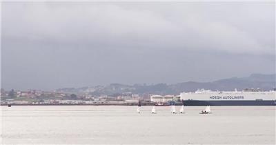 美丽的西班牙海边城市风景航拍