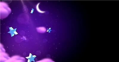 星星月亮 款A20018星星五角星弯月紫色背景无音乐