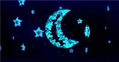 星星月亮 款A20024浪漫蓝色月亮星空五角星无音乐_batch led视频背景下载