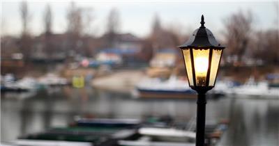 小镇街道复古街灯灯柱近焦镜头高清实拍